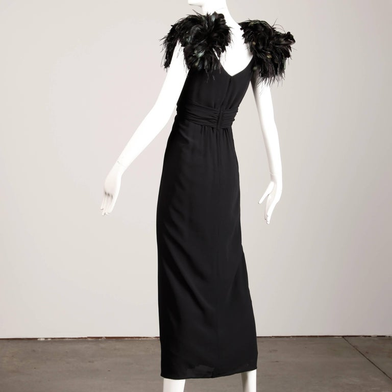 Women's Vintage Black Feather Evening Gown For Sale
