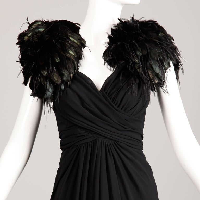 Vintage Black Feather Evening Gown For Sale 1