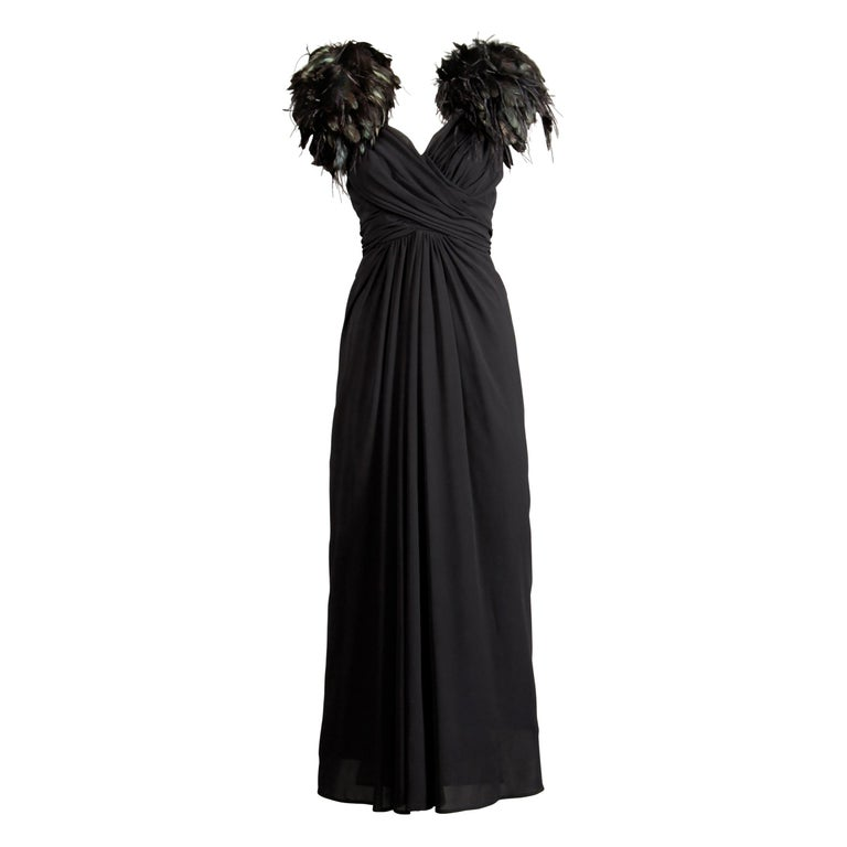 Vintage Black Feather Evening Gown For Sale