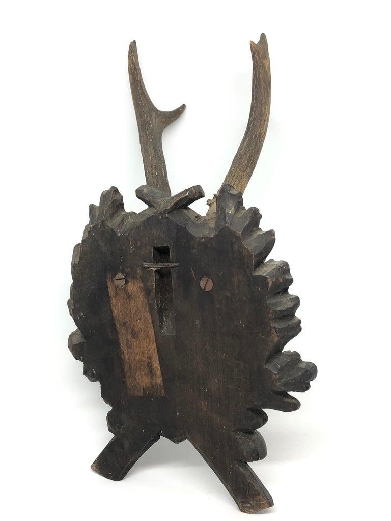 20th Century Vintage Black Forest Deer Antler Trophy on Wood Carved Plaque, German, 1900s For Sale
