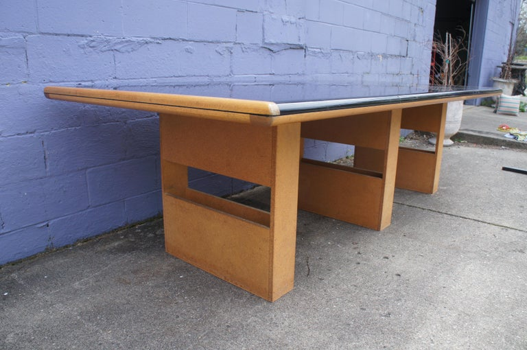 Vintage Black Formica and Oak Conference Table Contemporary Modern For Sale 5