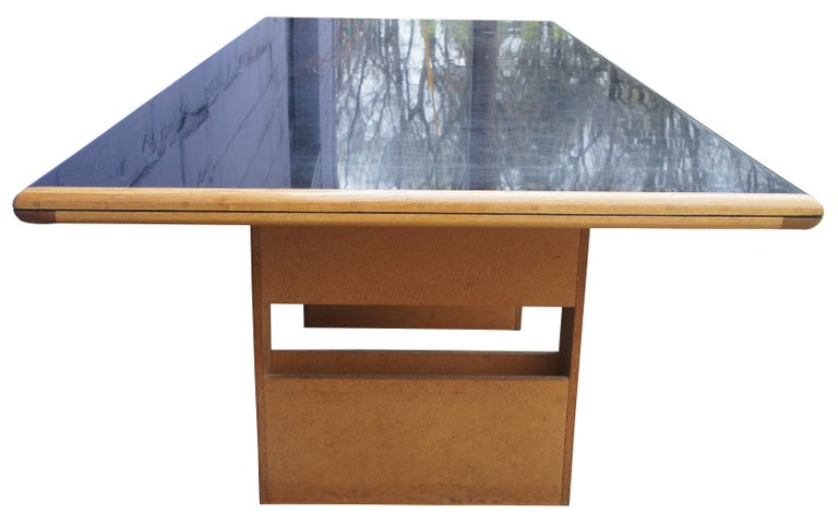 Mid-Century Modern Vintage Black Formica and Oak Conference Table Contemporary Modern For Sale