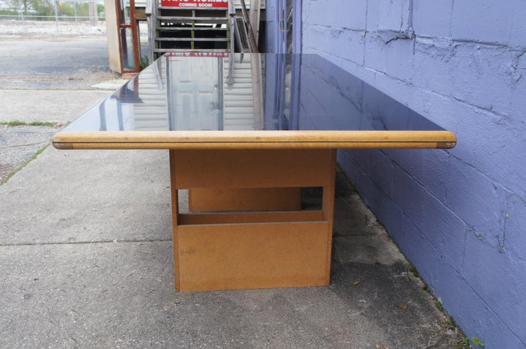Vintage Black Formica and Oak Conference Table Contemporary Modern In Good Condition For Sale In Dayton, OH