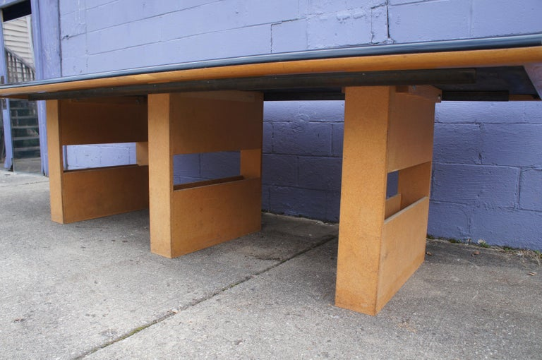 Vintage Black Formica and Oak Conference Table Contemporary Modern For Sale 4