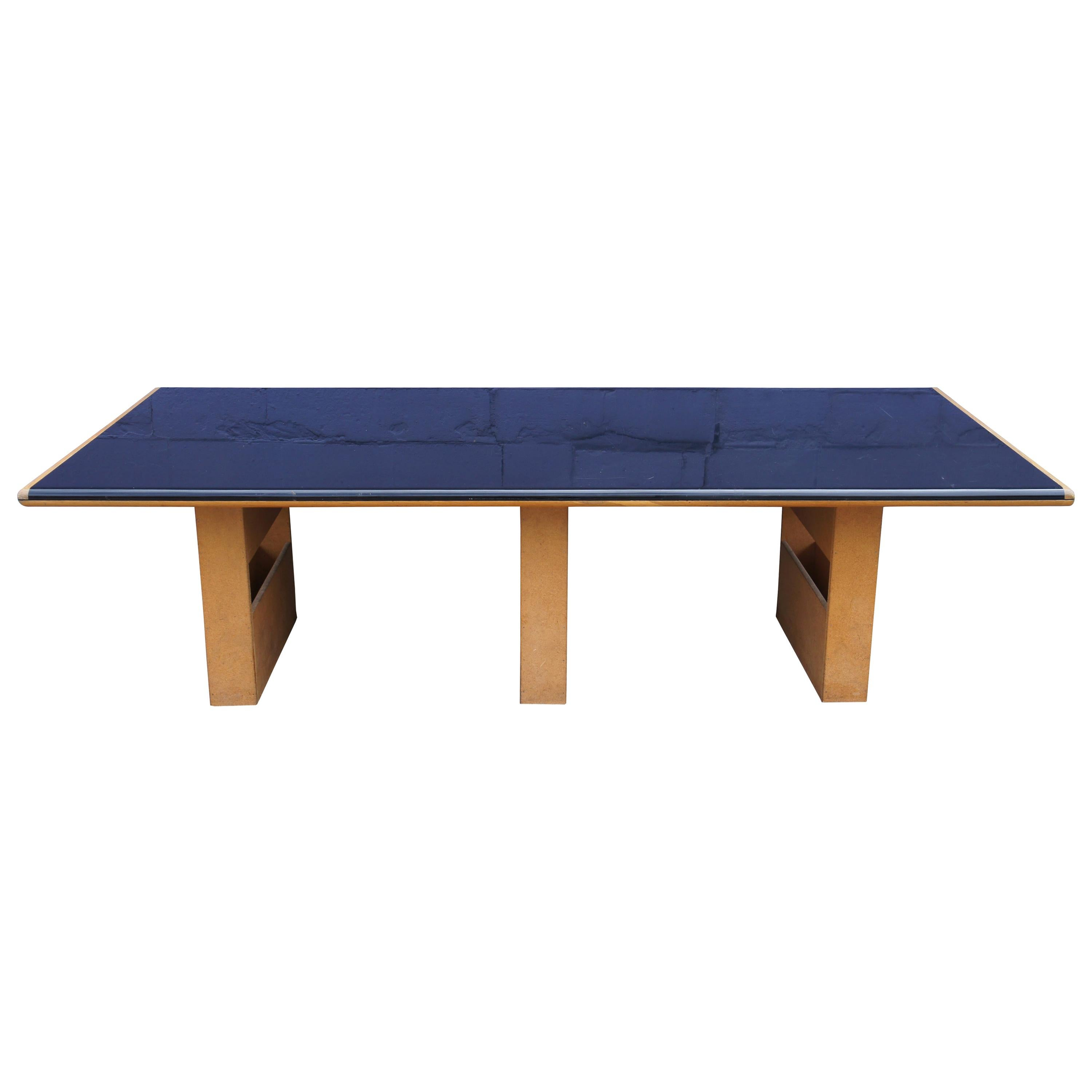 Vintage Black Formica and Oak Conference Table Contemporary Modern