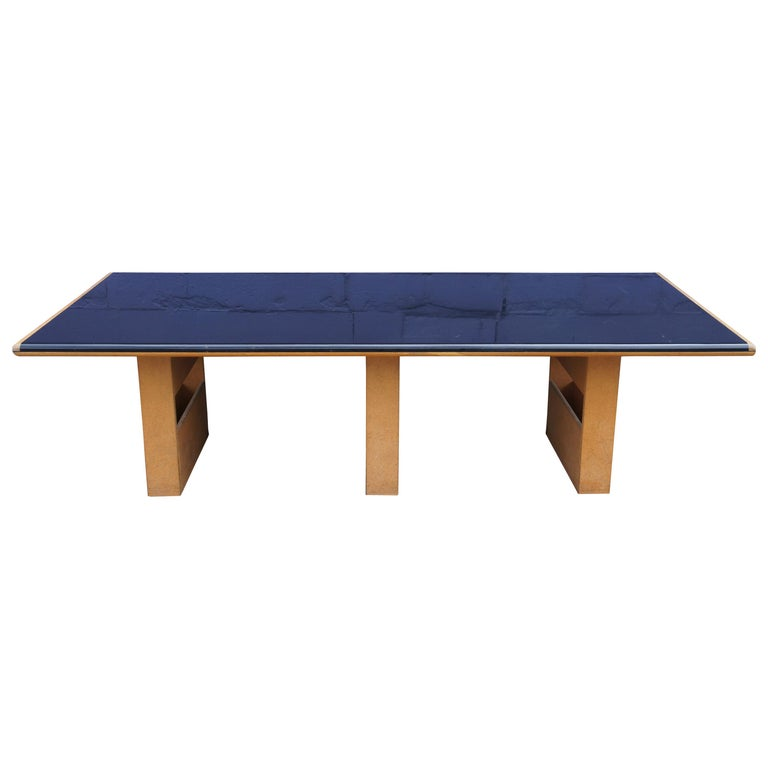Vintage Black Formica and Oak Conference Table Contemporary Modern For Sale