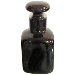 Vintage Black Glass Bottle by Venini, 1970s