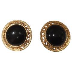 Vintage black gold earrings