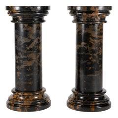 Vintage Black Gold Marble Pedestal