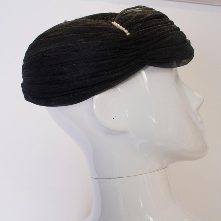 Women's Vintage Black Hat with Pearl Detail For Sale