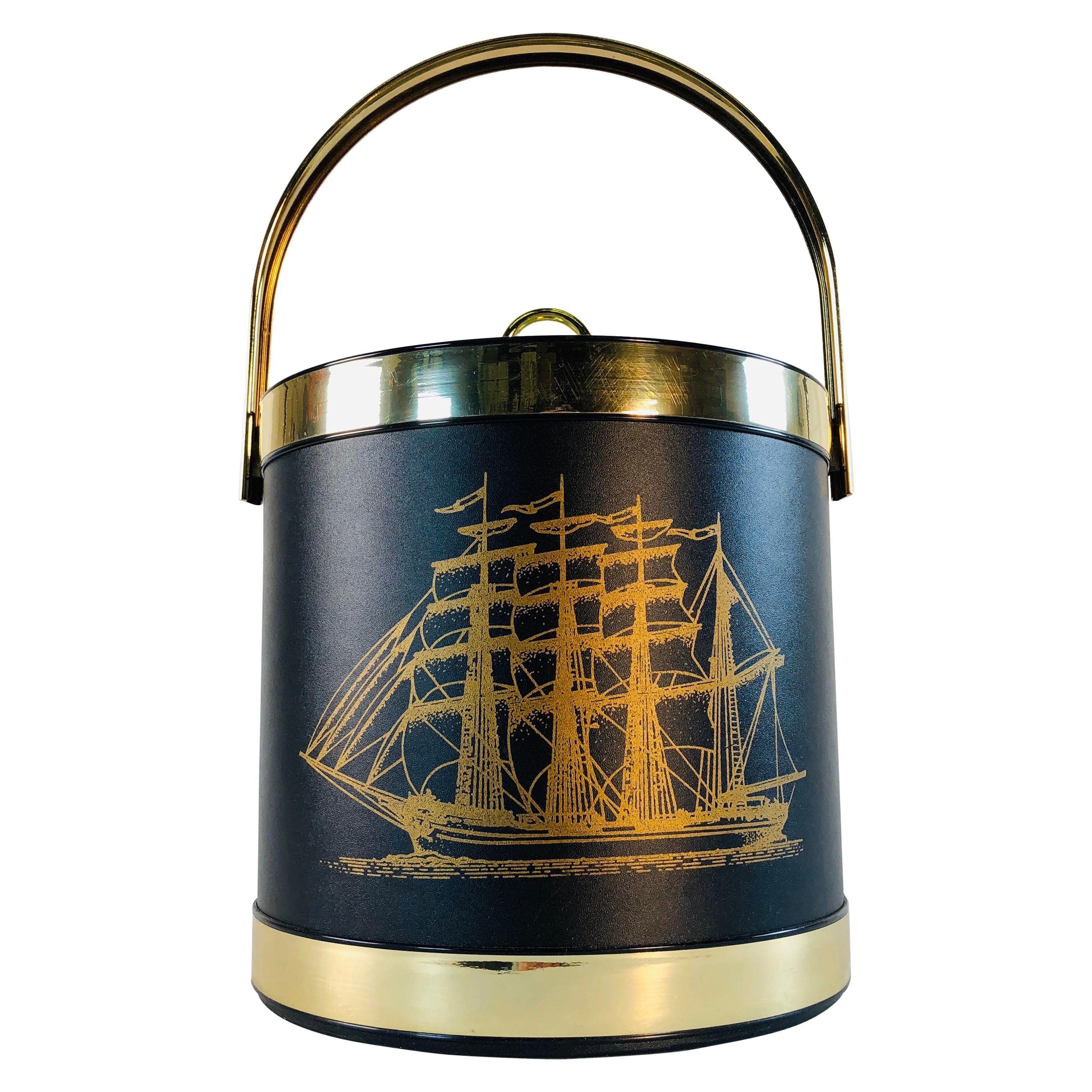 Vintage Black Ice Bucket with Ship Design