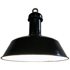 Vintage Black Industrial Pendant Light, 1930s