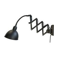 Vintage Black Industrial Scissor Wall Lamp, 1960s