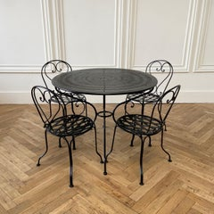 Vintage Black Iron French Patio Outdoor Table and Chairs