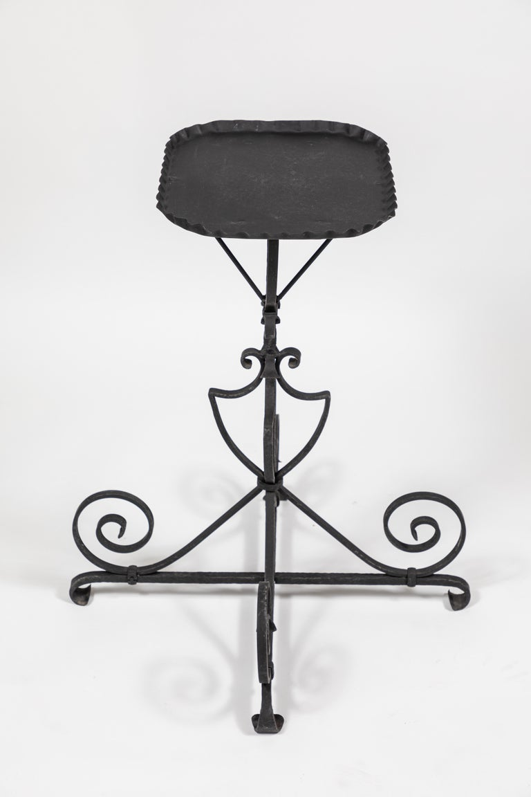 20th Century Vintage Black Iron Side Table For Sale