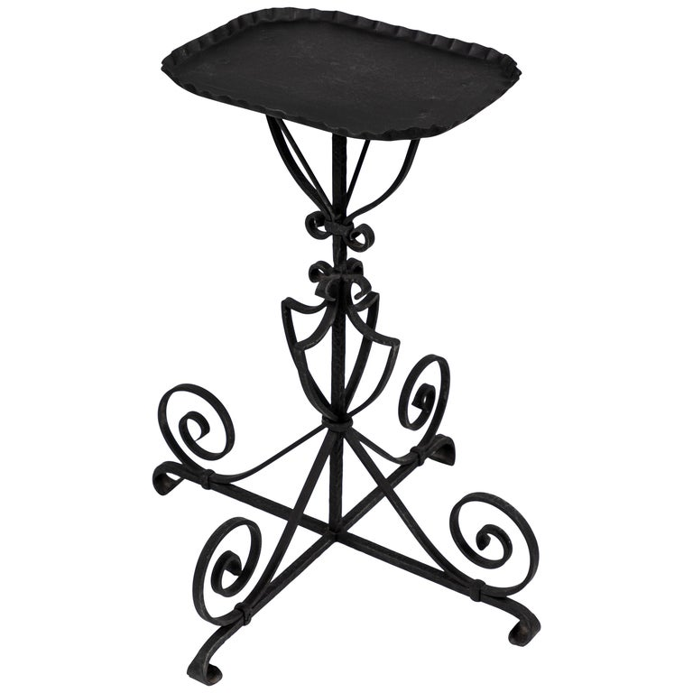 Vintage Black Iron Side Table For Sale
