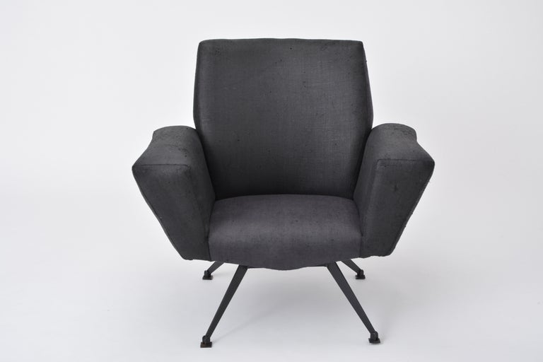 Vintage Black Italian Lounge Chair Model 548 by Lenzi, 1960s For Sale 2