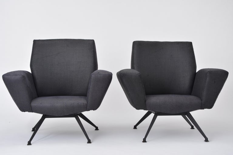 Vintage Black Italian Lounge Chair Model 548 by Lenzi, 1960s For Sale 5