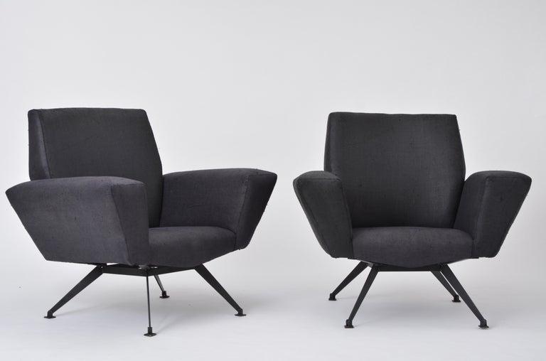 Vintage Black Italian Lounge Chair Model 548 by Lenzi, 1960s For Sale 6