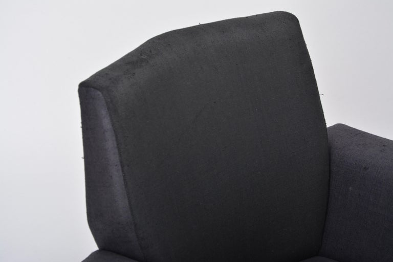 Metal Vintage Black Italian Lounge Chair Model 548 by Lenzi, 1960s For Sale