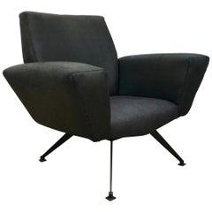 Vintage schwarze italienische Lounge Stuhl Modell 548 von Lenzi, 1960er Jahre