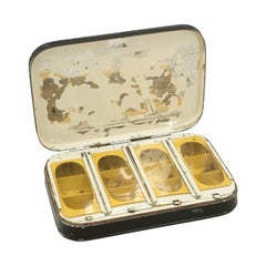 Vintage Black Japanned Dry Fly Fishing Box with Compartments