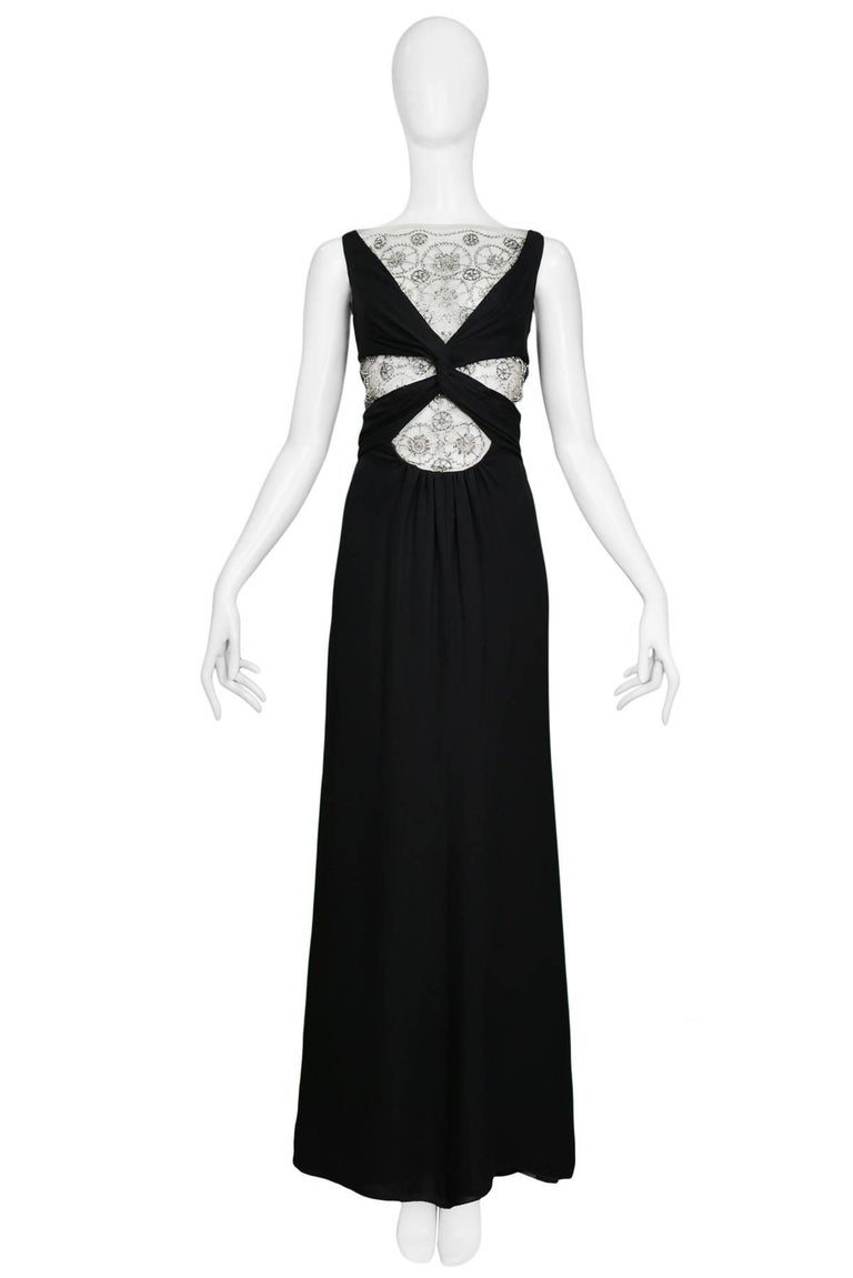 Vintage Black Knot Valentino Cutout Evening Gown w Silver Lace ...