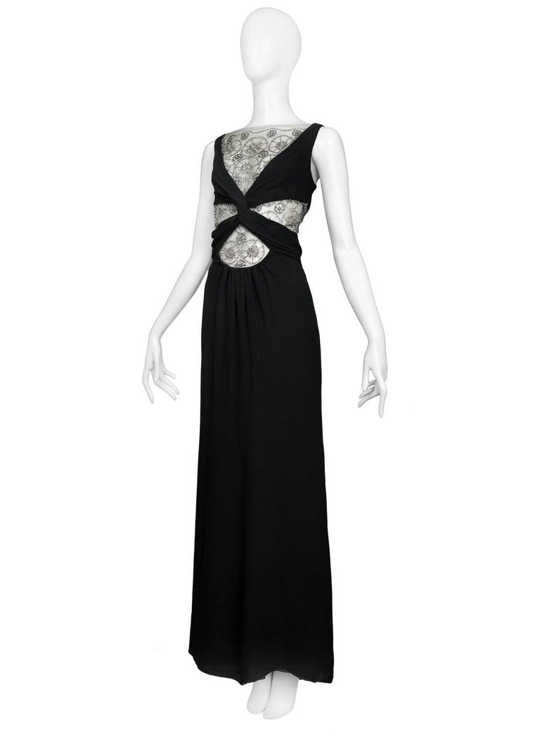 Vintage Black Knot Valentino Cutout Evening Gown W Silver Lace