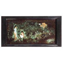 Vintage Black Lacquer Tray with Hand Painted Scene