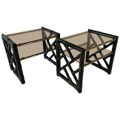 Vintage Black Lacquered Rattan Side Tables or Nightstands