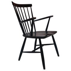 Vintage Black Lacquered Wood Windsor Chair by Ercolani for Ercol, 1970s