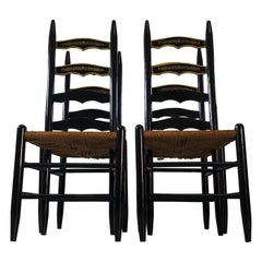 Vintage Black Ladder Back Dining Chairs, Set of 4