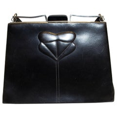 Vintage Black  Laether Art Deco Bag