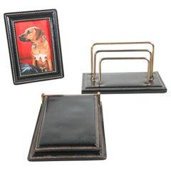 Vintage Black Leather and Brass Desk Set Letter Rack, Picture Frame and Notepad