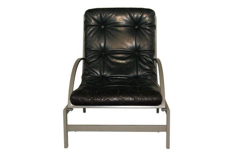 French Vintage black leather and metal Lounge Chair by Guy Lefevre - multi adjustable  For Sale