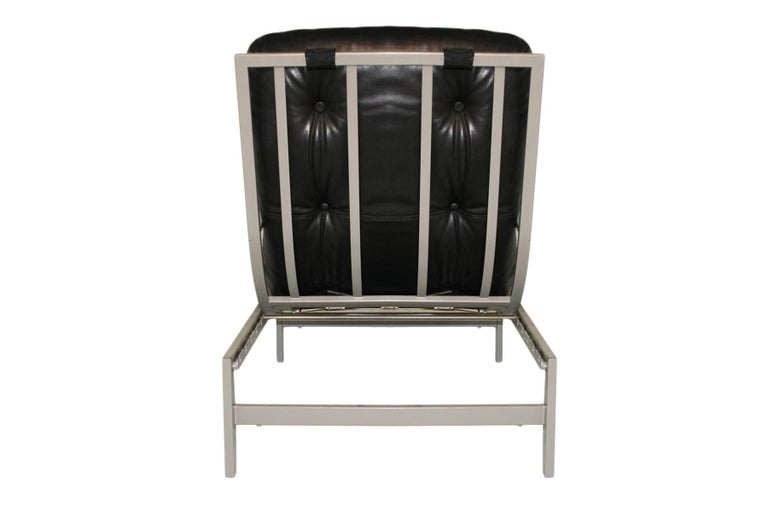 Vintage black leather and metal Lounge Chair by Guy Lefevre - multi adjustable  In Good Condition For Sale In Highclere, Newbury
