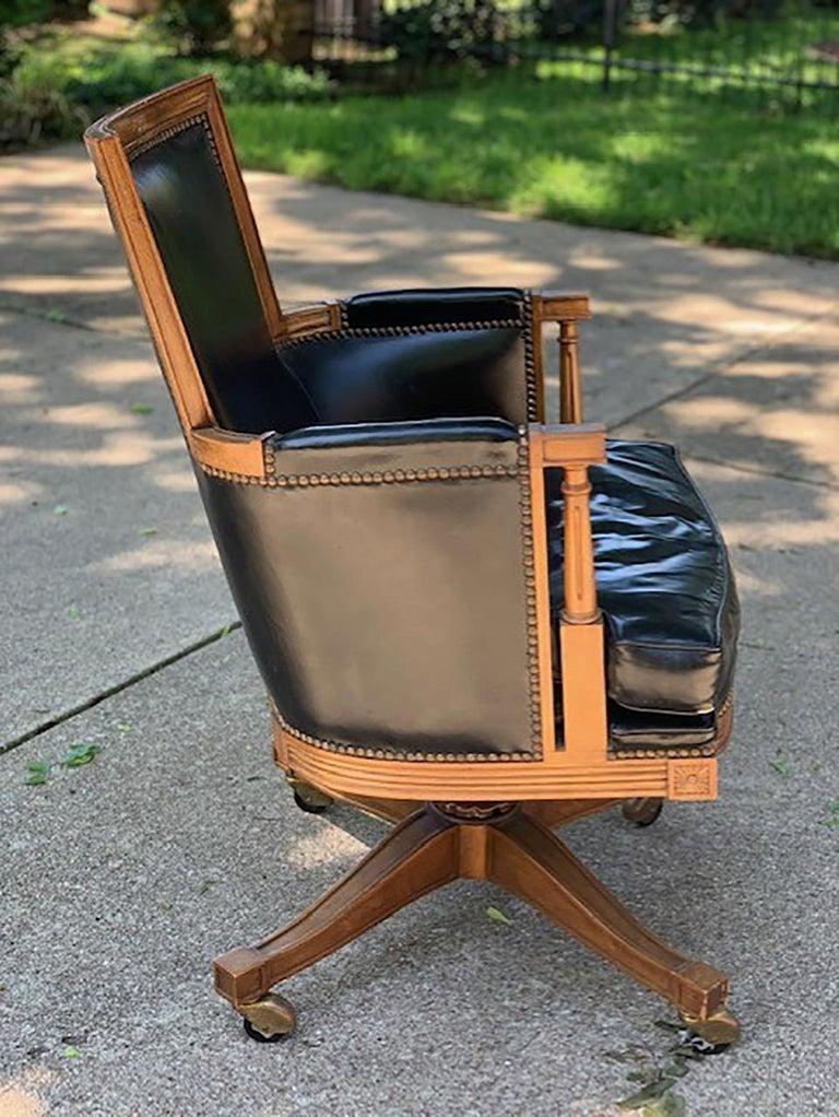 Vintage Black Leather And Oak 'Baker' Swivel Office Desk