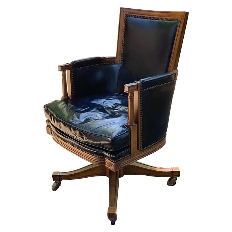 Vintage Black Leather And Oak Baker Swivel Office Desk