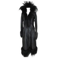 Vintage Black Leather coat with fur details