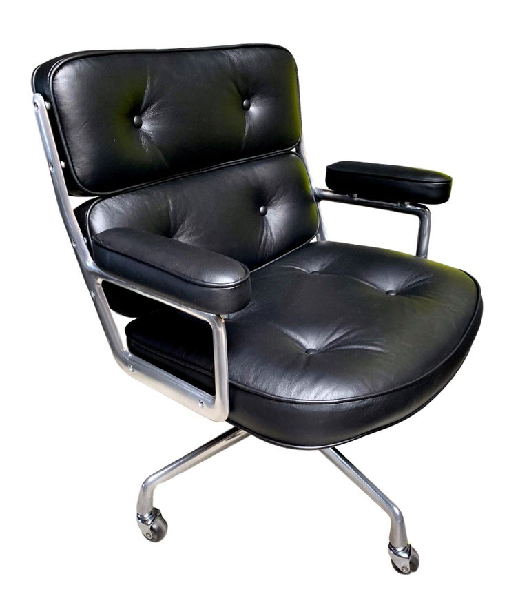 Admirable Set Of 6 Vintage Black Leather Eames Time Life Swivel Chairs Download Free Architecture Designs Grimeyleaguecom