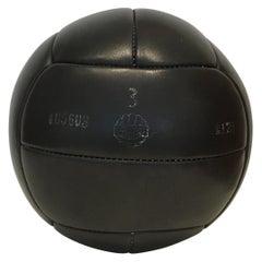 Vintage Black Leather Medicine Ball, 3kg, 1930s