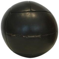 Vintage Black Leather Medicine Ball, 4kg, 1930s
