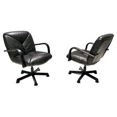 Vintage Black Leather Office Chair ICF Design, 1970s - 1980s
