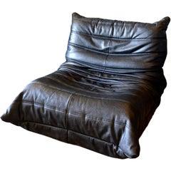 Vintage Black Leather Togo Chair by Ligne Roset