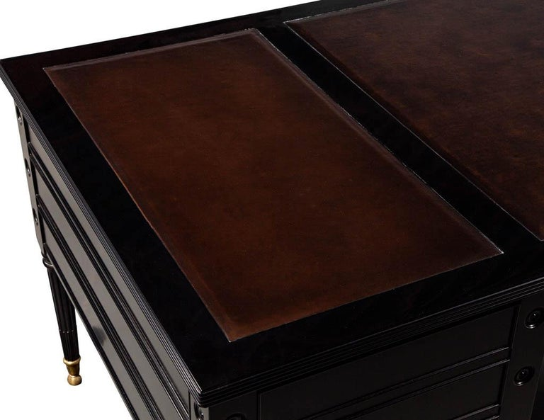 Vintage Black Leather Top Desk by Councill For Sale 7