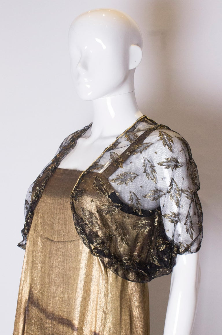 Vintage Black Net Bolero with Gold Detail In Good Condition For Sale In London, GB