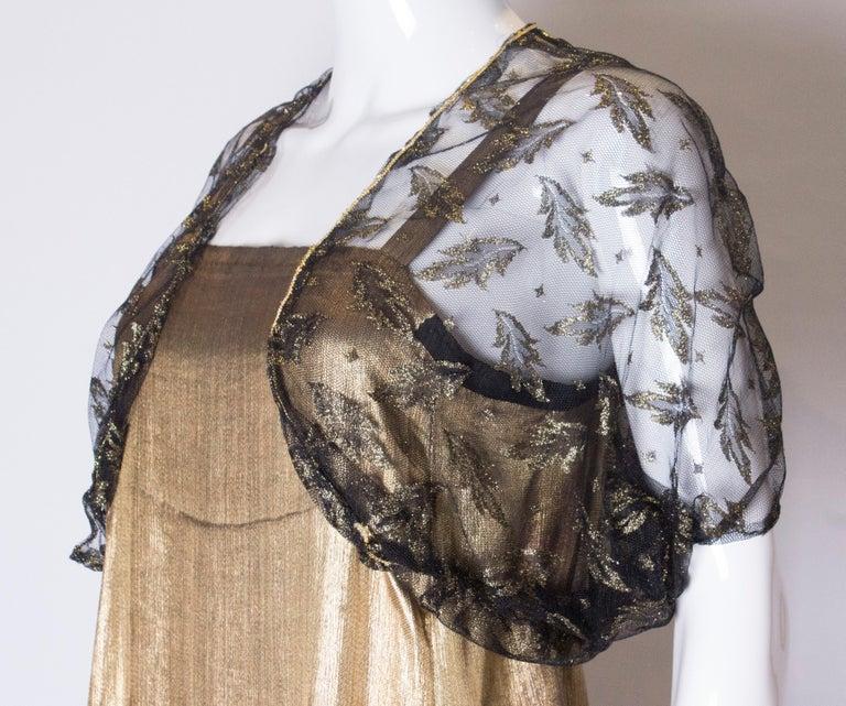 Women's Vintage Black Net Bolero with Gold Detail For Sale
