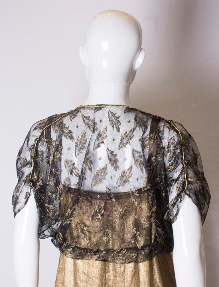 Vintage Black Net Bolero with Gold Detail For Sale 2