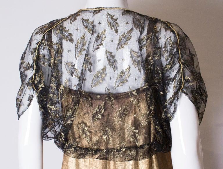 Vintage Black Net Bolero with Gold Detail For Sale 3