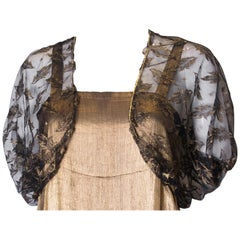 Vintage Black Net Bolero with Gold Detail